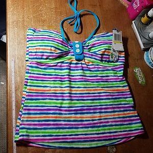 Malibu Swimwear Top Striped Blue Pink Yellow